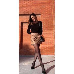 NWT Zara Faux Leather Polka Mini Skirt